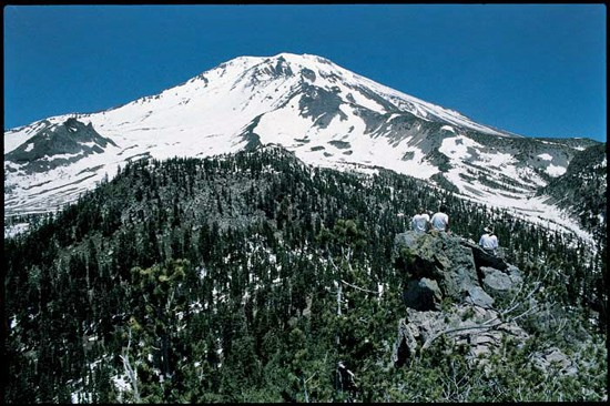 The Old Ski Bowl and Mount Shasta summit viewed from Gray Butte.