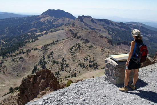 Stephanie looks south from a view point on the Lassen Peak Trail back in 2008.