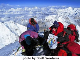 Laurie Bagley on the summit of Mount Everest