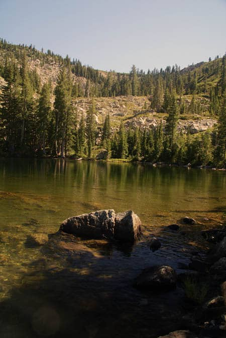 Upper Gray Rock Lake in the Trinity Divide Mountains west of Mount Shasta.