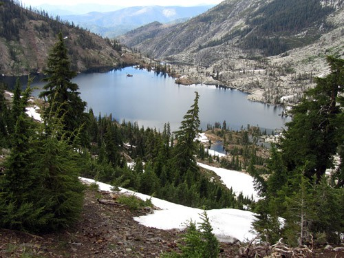 Caribou Lake from Sawtooth Ridge -- the largest lake in the Trinity Alps.