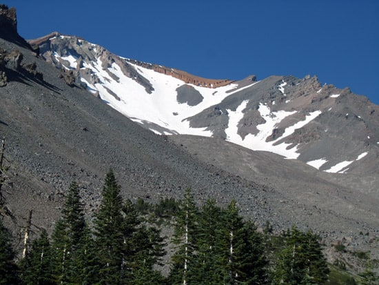 Mount Shasta's Avalanche Gulch climbing route with Lake Helen, the Heart, and Red Banks. (Photo by John Soares)