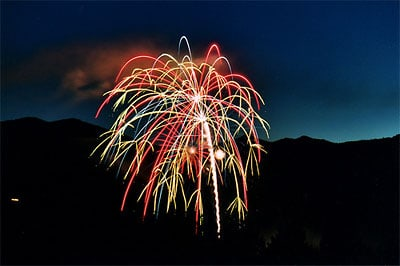 Fireworks over Lake Siskiyou from the Mount Shasta Resort. (Photo by Danielle Signor)