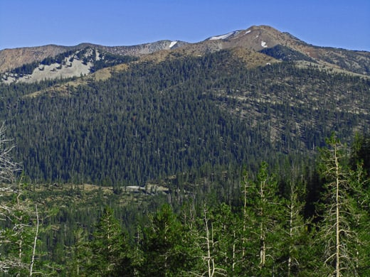 Mount Eddy above the Parks Creek drainage, viewed from below Middle and Upper Caldwell Lakes.