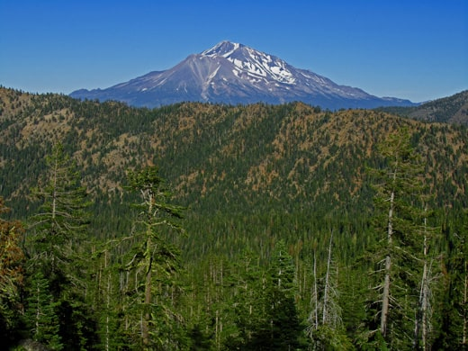 The view of Mount Shasta and the Eddy mountains from near the Caldwell Lakes.