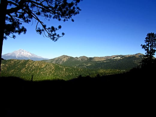 Mount Shasta and Mount Eddy with evening shadows.