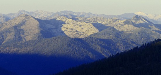 Granite cirques holding Big Bear Lake (right) and Little Bear Lake (left). Photo from Parks Creek Saddle.