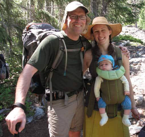 Conifer Country author Michael Kauffmann and his family out hiking together.