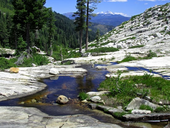 Bear Creek and Mount Shasta below Big Bear Lake in the Trinity Alps.