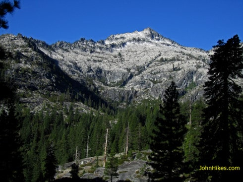 Mount Hilton and the Boulder Creek Lakes drainage in the Trinity Alps. Early morning view from our campsite.