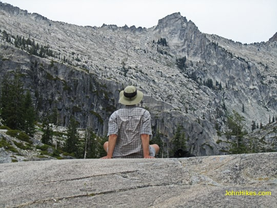 That's me at Lower Canyon Creek Lake checking out Wedding Cake and Thompson Peak. Excellent photo by Stephanie Hoffman.