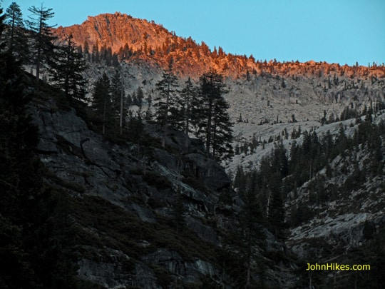 This drainage holds a difficult cross-country route to Smith Lake, one of the Trinity Alps' most difficult lakes to reach. Sunset view from our campsite.