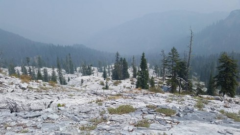 Northern California's Marble Mountain Wilderness enshrouded in wildfire smoke. Photo by Nick Epps.