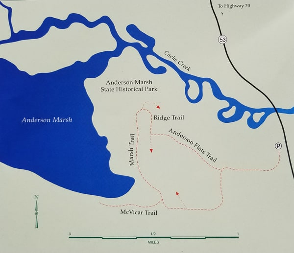 Hiking Trails Map of Anderson Marsh Historic State Park near Clear Lake and Cache Creek in Northern California's Lake County.