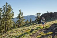 Hiking guidebook author Philip Kramer walking a section of the Pacific Crest Trail in Northern California