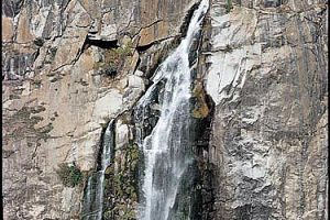 Feather Falls on the Fall River in Plumas National Forest, Feather River Ranger District. A moderate hiking trail leads to the waterfall, which plunges 410 feet past a sheer rock cliff.