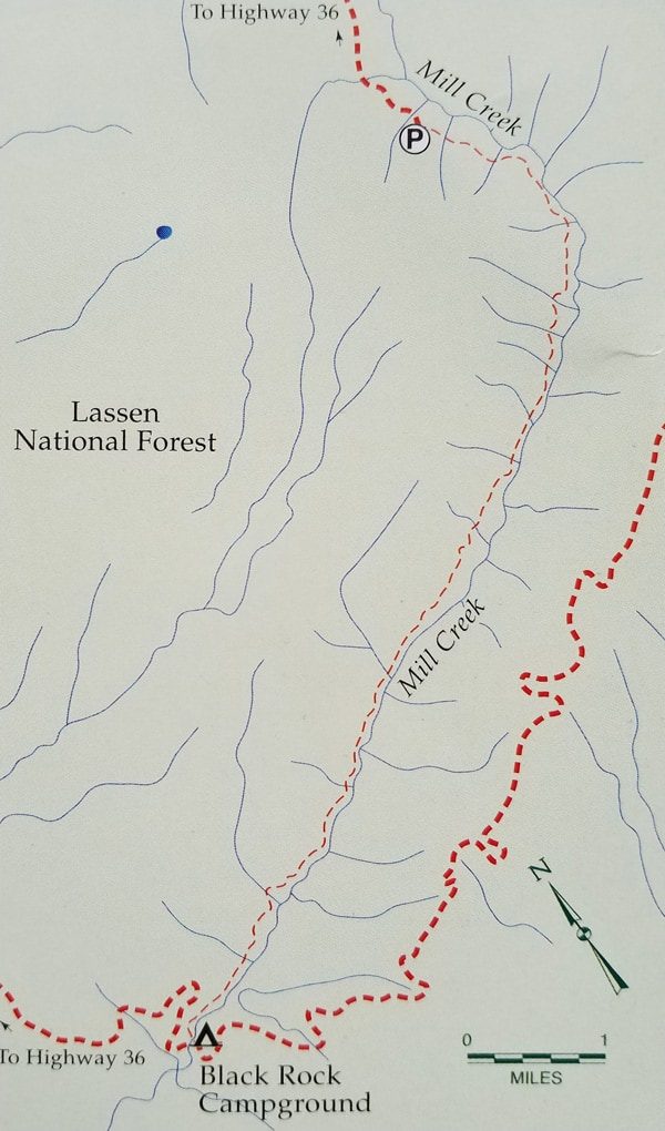Map of the Mill Creek Trail north of Black Rock in Lassen National Forest. This area borders Ishi Wilderness in Northern California and was the home of the Yana/Yahi Indians.