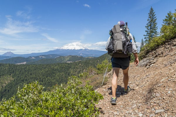 A Pacific Crest Trail section hiker in the Shasta-Trinity National Forest