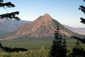 The hiking trail up Black Butte Near Mount Shasta climbs steeply, with good views of surrounding mountains.