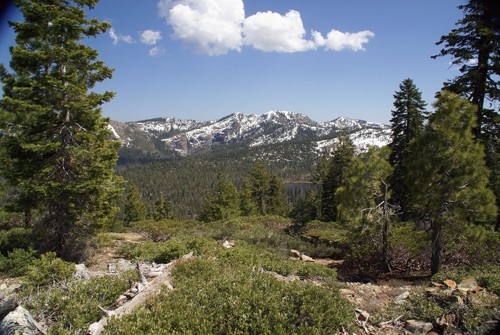 View east from Gumboot Saddle: Gumboot Lake and the Trinity Divide Mountains in Northern California.