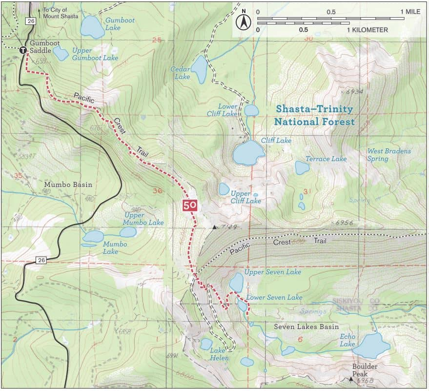 Seven Lakes Basin trail map, Shasta-Trinity National Forest. Includes Pacific Crest Trail and Upper Seven Lake, Lower Seven Lake, Echo Lake, and Boulder Peak.
