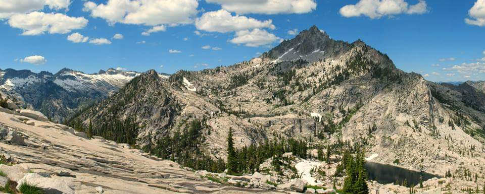 Sawtooth Mountain rises high above Smith Lake and Morris Lake. The two lakes are only reachable by cross-country hiking routes in the Trinity Alps Wilderness of Northern California.