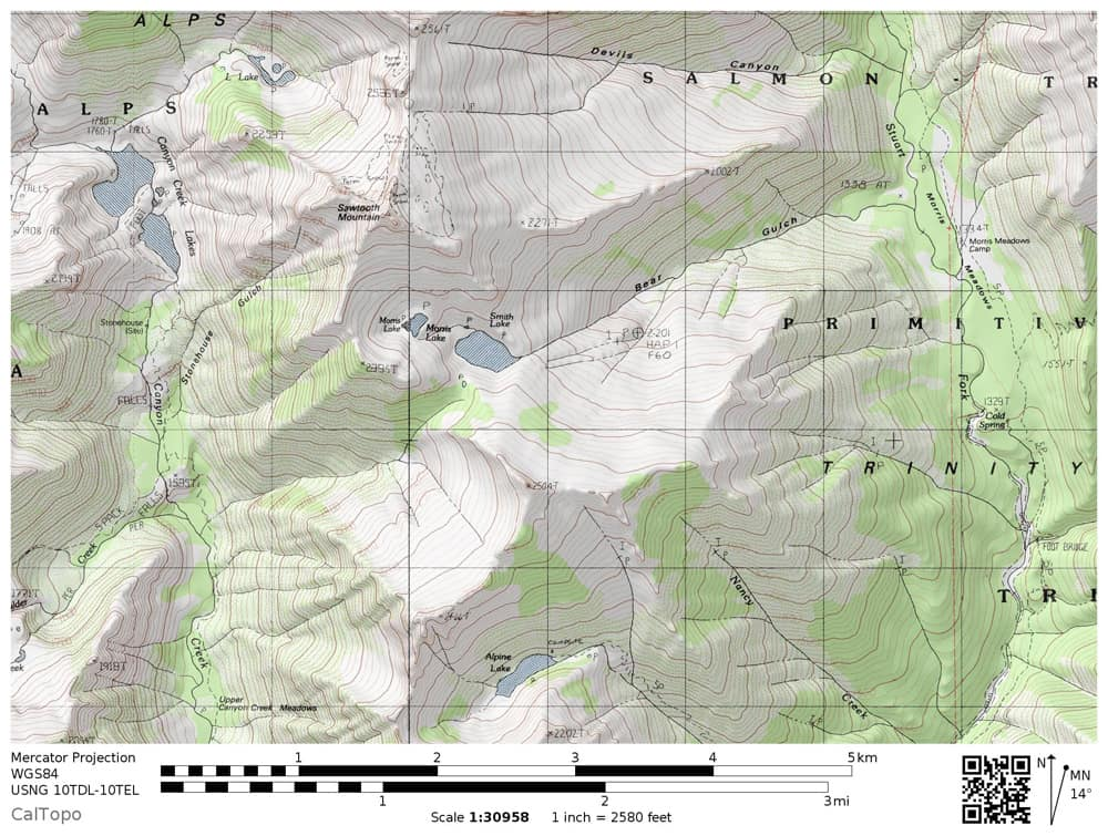 Smith Lake in the Trinity Alps: topographical map to help you choose potential cross-country routes. Four main routes: from Alpine Lake, from Morris Meadows via Bear Gulch; from L Lake (El Lake) along the flank of Sawtooth Mountain; from Canyon Creek Lakes Trail.