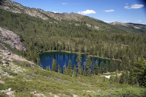 Upper Seven Lake in the Seven Lakes Basin of Northern California, viewed from the Pacific Crest Trail.