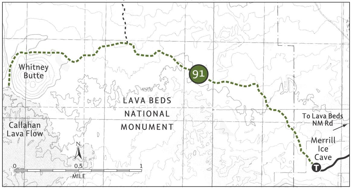 Trail map for the Whitney Butte Trail in Lava Beds National Monument