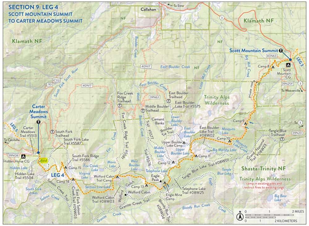 Map of the Pacific Crest Trail Section: Trinity Alps from Scott Mountain Summit to Carter Meadow. Passes East Boulder Lake, South Fork Lakes, Telephone Lake, Mosquito Lake, Big and Little Marshy Lakes, and more.