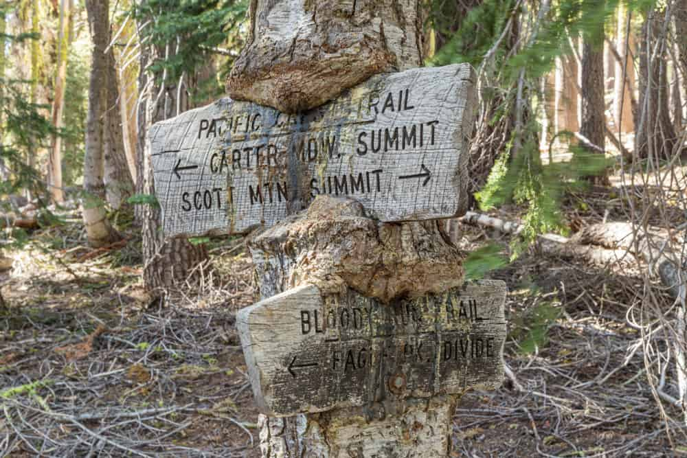 Bloody Run Trail and Pacific Crest Trail intersection in the Trinity Alps.