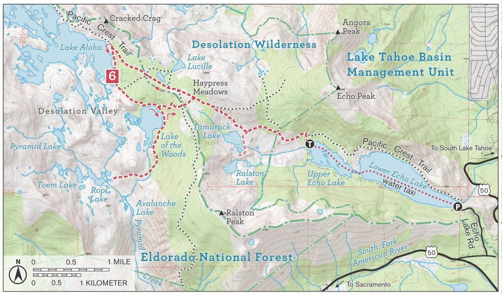 Desolation Wilderness trail map: Lake Aloha, Ralston Lake, Ropi Lake, Tamarack Lake, including the Pacific Crest Trail.