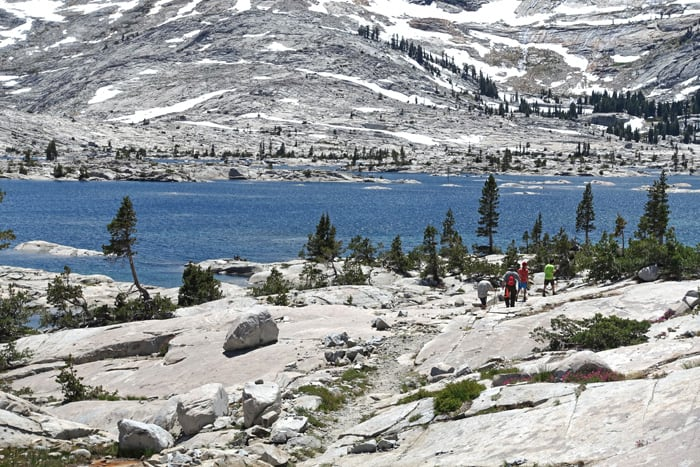 Hikers at Lake Aloha, Desolation Wilderness