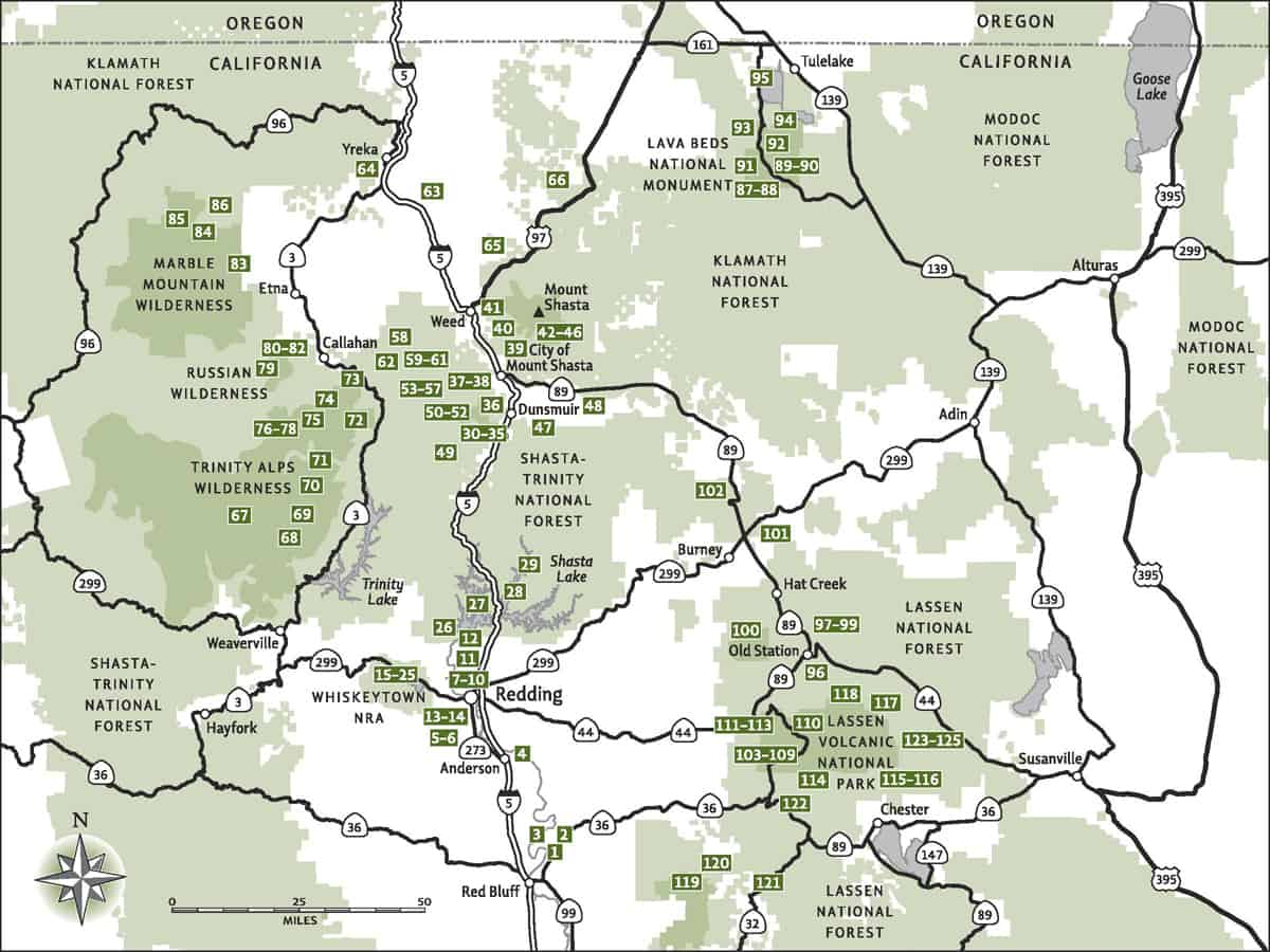 Trail Locator Map: Day Hiking Mount Shasta, Lassen, & Trinity Alps Regions Hiking Guidebook, including Redding, Lassen Volcanic National Park, Castle Crags, and Lava Beds National Monument.
