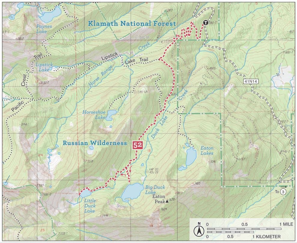 Trail Map of Big Duck Lake, Little Duck Lake, Horseshoe Lake, and Eaton Lakes in Russian Wilderness