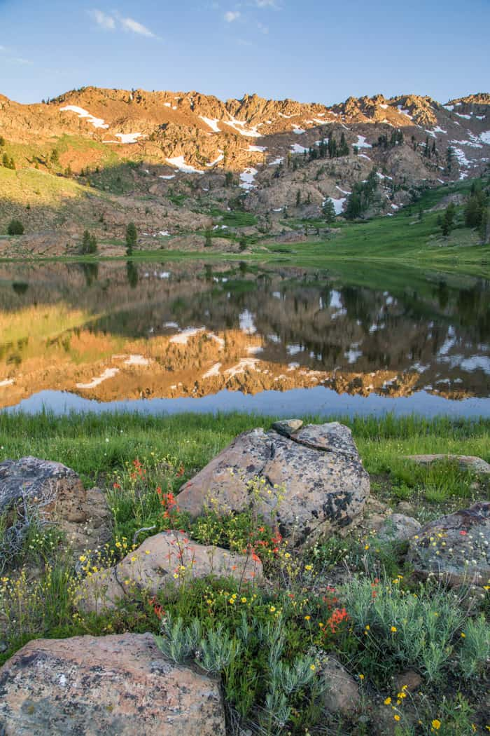 Upper Boulder Lake in the Trinity Alps Wilderness. One of many lakes just below the Pacific Crest Trail.