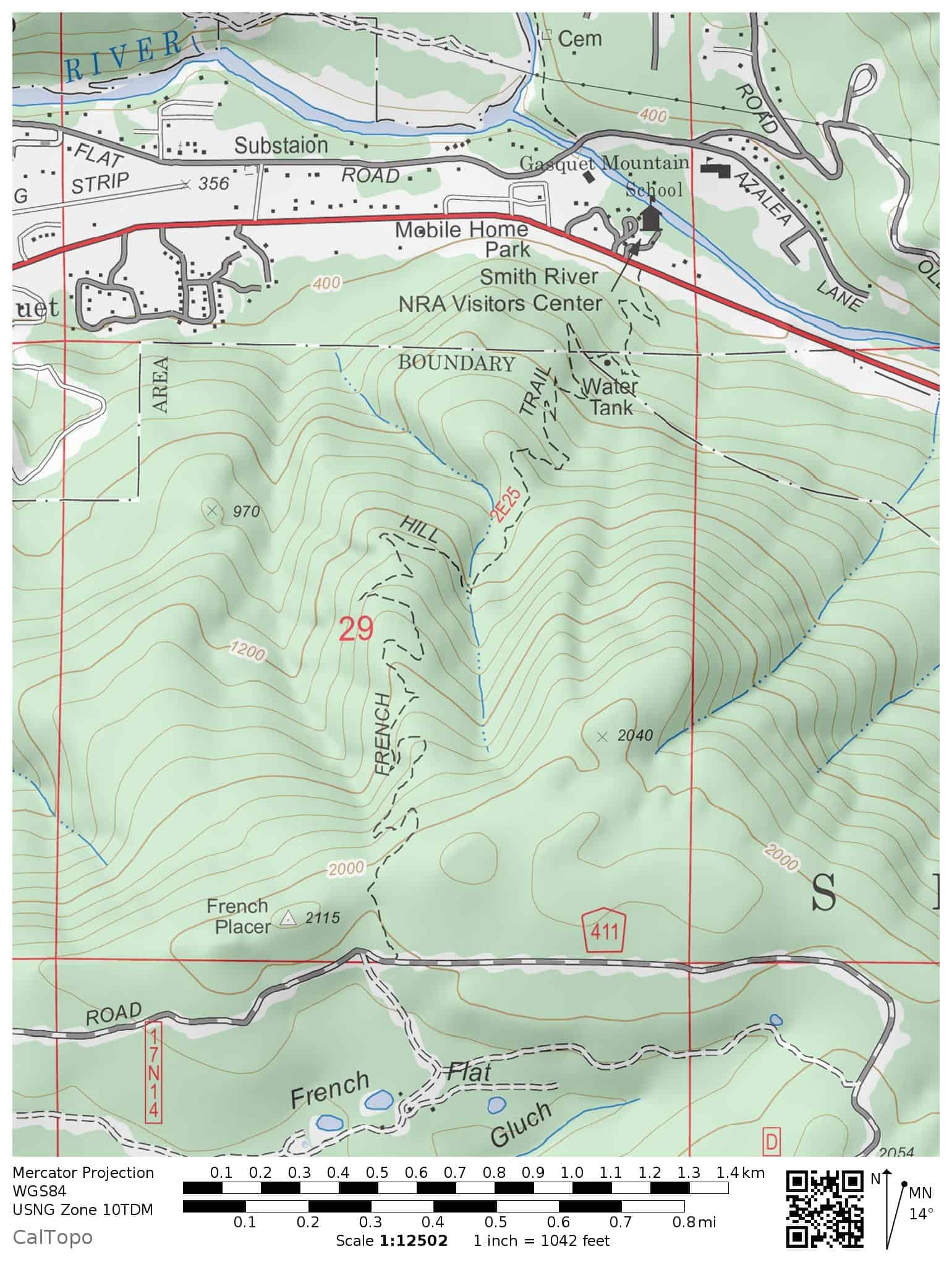 French Hill Trail Map, Smith River National Recreation Area, Six Rivers National Forest. The trail begins at the Smith River National Recreation Area Visitor Center on Highway 199 and ends at French Hill Road.