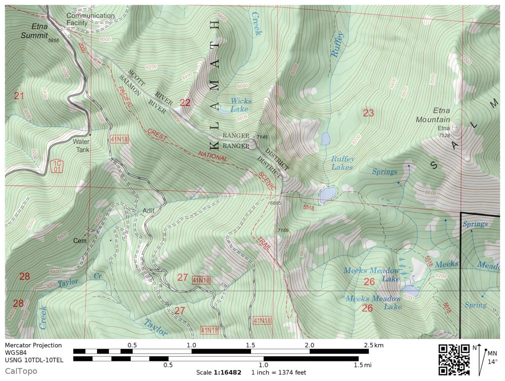 Hiking Trail Map: Ruffey Lake, Meeks Meadow Lake, Klamath National Forest near Russian Wilderness