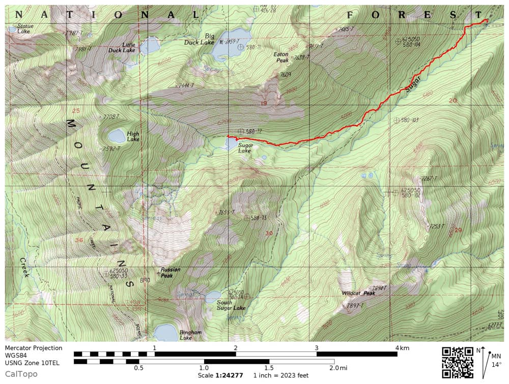 Sugar Lake trail map in Russian Wilderness. Includes old, likely nonexistent, trail to South Sugar Lake, along with High Lake, Russian Peak, Bingham Lake, and Little Duck Lake and Big Duck Lake.