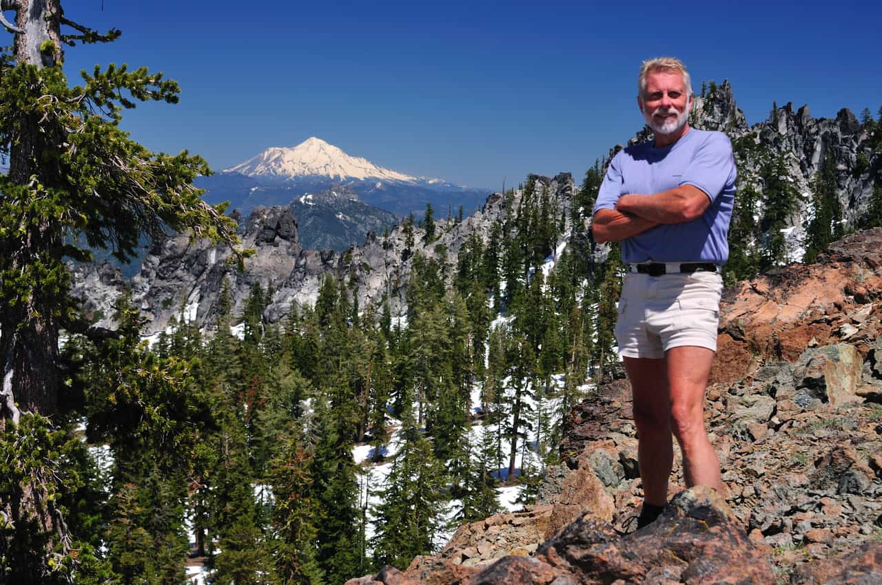 Ken DeCamp above the Sugar Pine Lake Basin, reached by trail from Coffee Creek in the Trinity Alps.