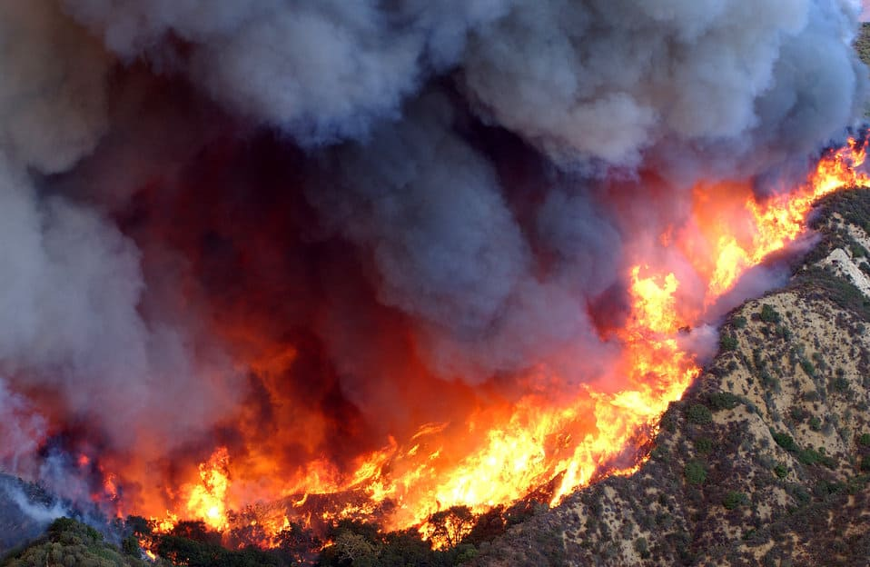 Smoky wildfire in the California foothills