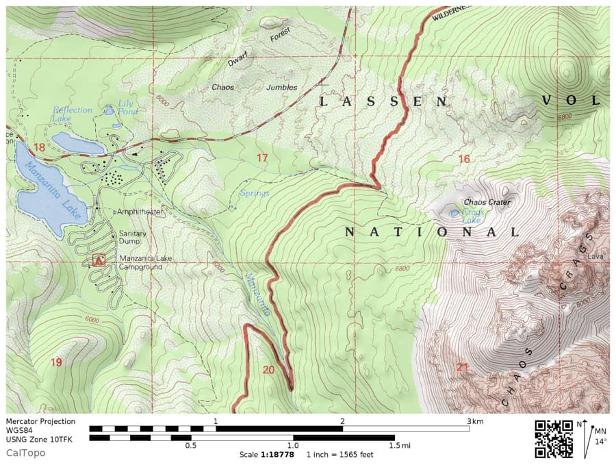 Topographic map of the Chaos Crags Trail to Crags Lake in Lassen Volcanic National Park. Includes trailhead near Manzanita Lake.