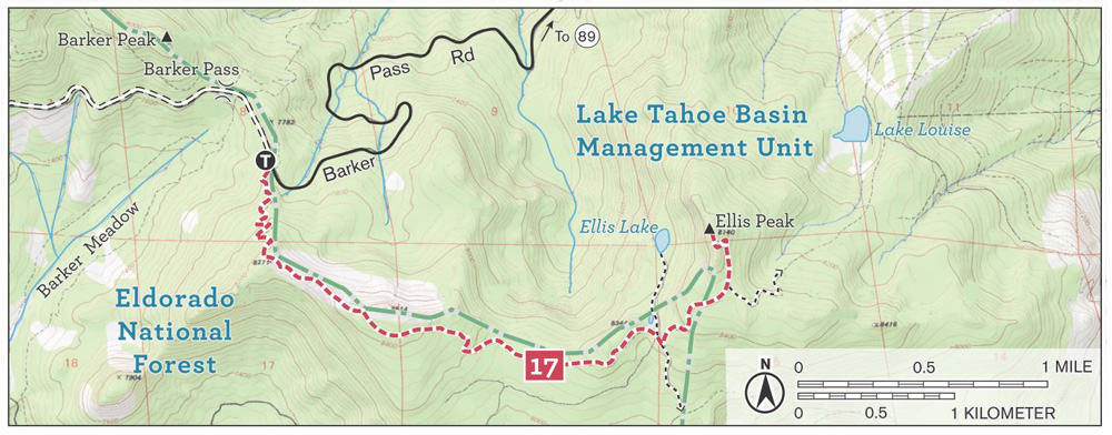 Ellis Peak Hiking Trail Map. The Ellis Peak Trail in Lake Tahoe Basin Management Unit in the Northern Sierra Nevada, near Ellis Lake and Eldorado National Forest.