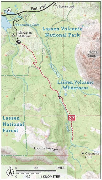 Manzanita Creek Trail topographic map, Lassen Volcanic National Park. Includes trailhead and Manzanita Lake Campground.