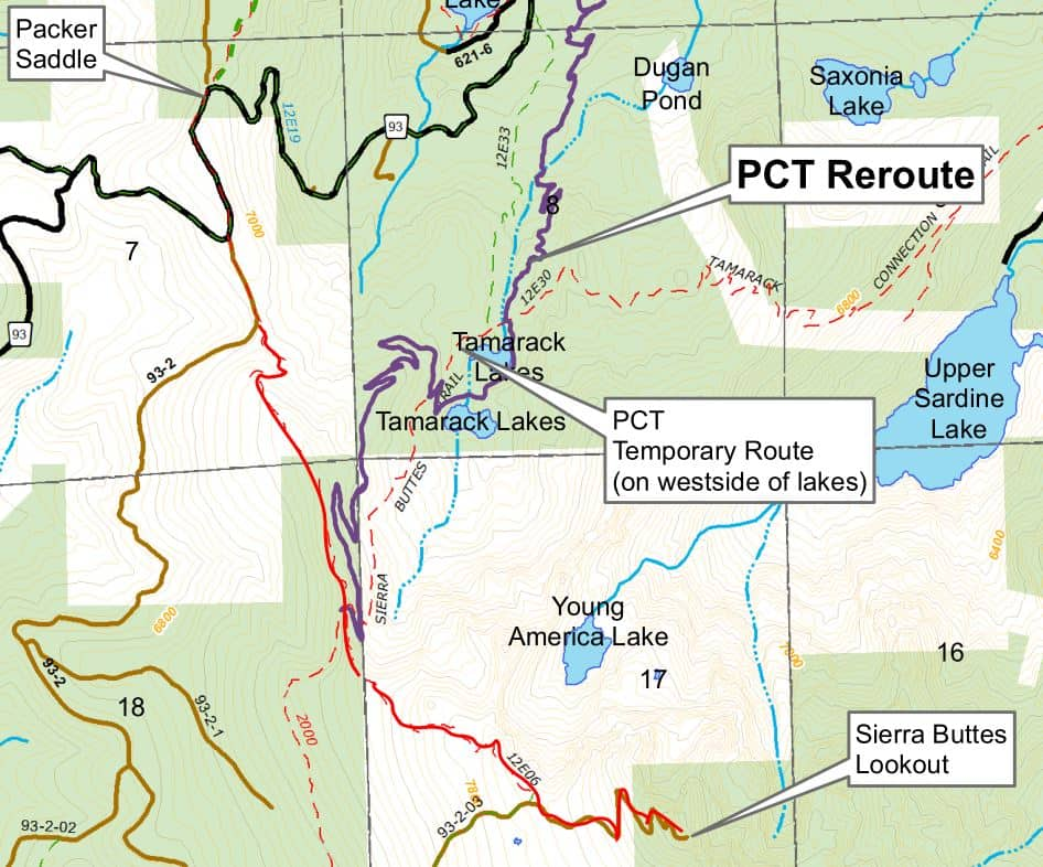 Sierra Buttes Lookout trail map that shows rerouted Pacific Crest Trail past Tamarack Lakes.