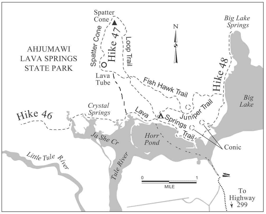 Hiking Trails Map, Ahjumawi Lava Springs State Park: Lava Springs Trail, Juniper Trail, Spatter Cone Loop Trail, Osprey Trail