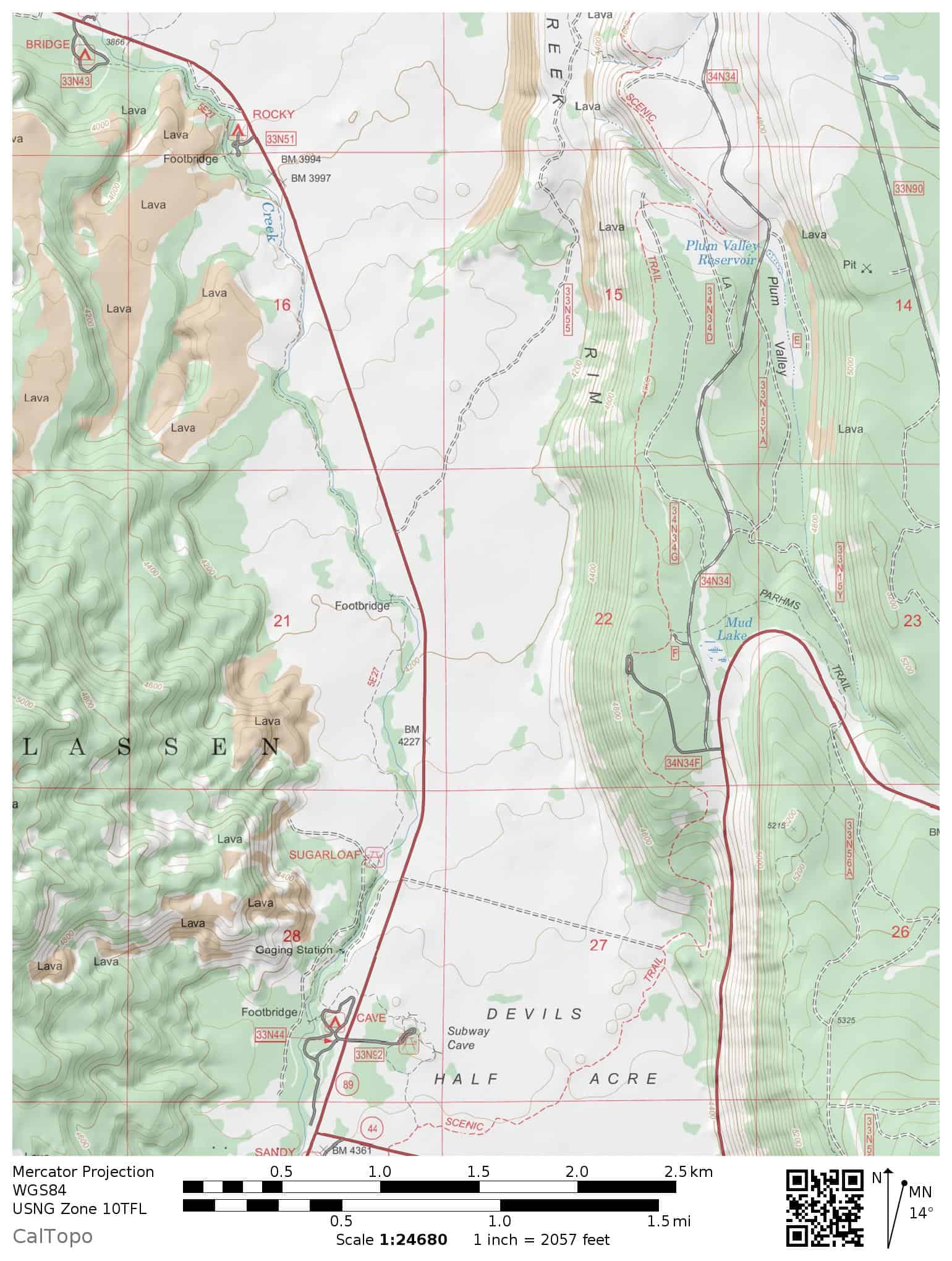 Trail map of the Hat Creek Trail, including Subway Cave, Cave Campground, and the Pacific Crest Trail in Lassen National Forest