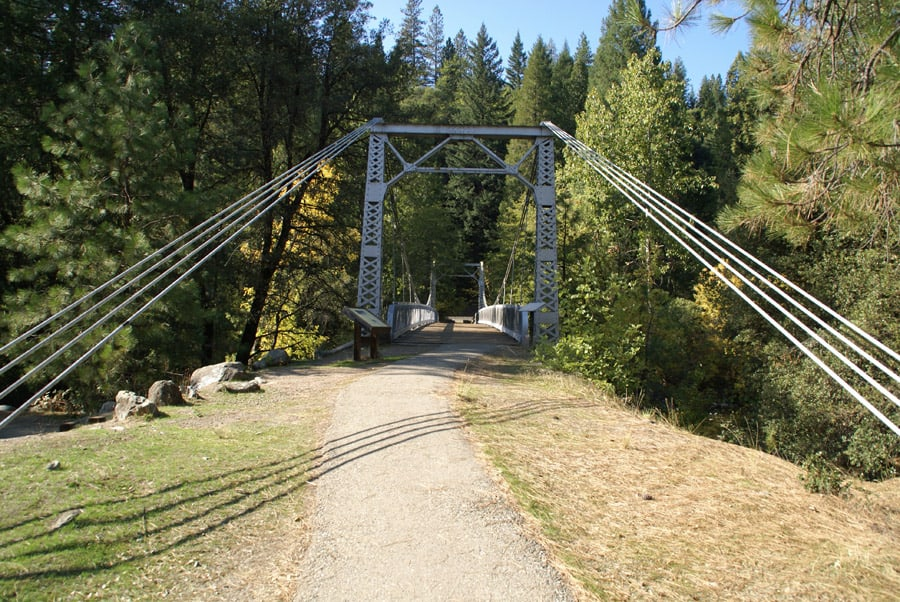 This bridge across the Upper Sacramento River at Sims Flat Campground was built in the 1930s by the Civilian Conservation Corps (CCC).