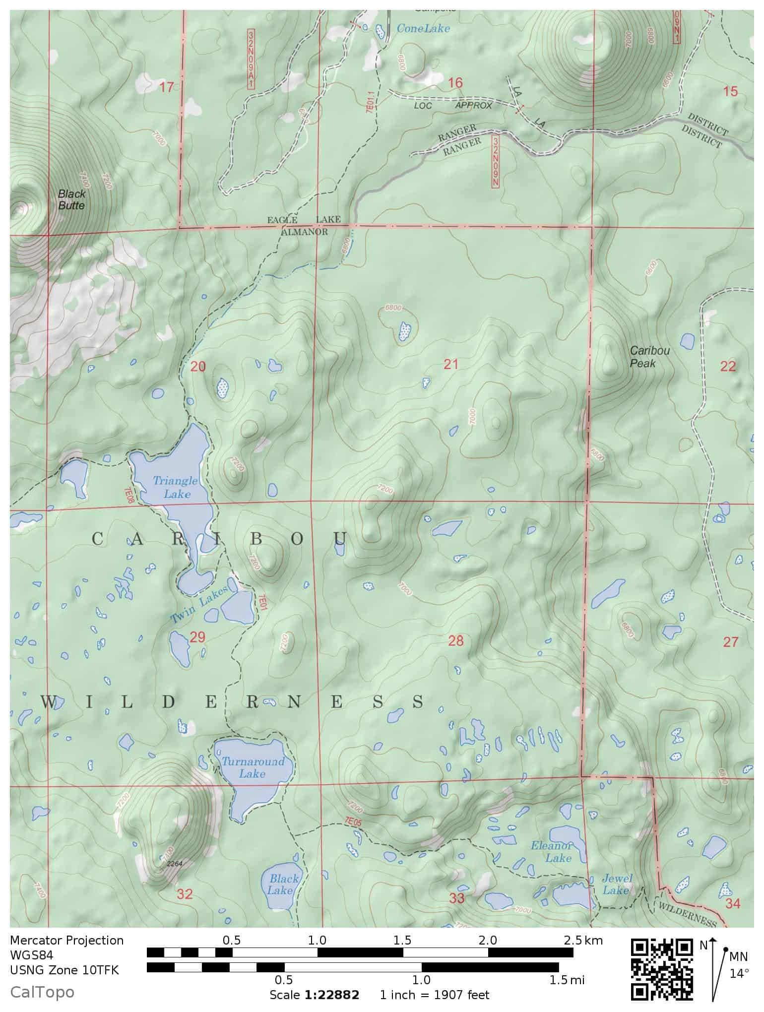 Hiking trail map: Triangle Lake, Twin Lakes, and Turnaround Lakes in the Caribou Wilderness. For backpackers and day hikers.