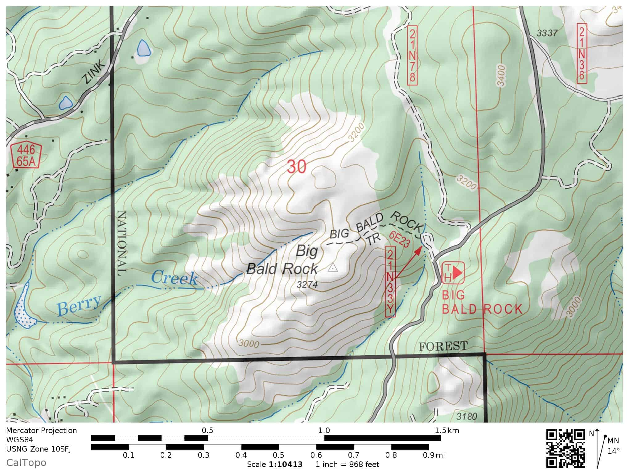 Big Bald Rock Trail topographic map for hikers. Big Bald Rock is on the Feather River Ranger District of Plumas National Forest in California.